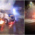 Ricuh, Demo Tolak Omnibus Law di Makasar, Ambulans Partai Nasdem Dibakar Massa Aksi